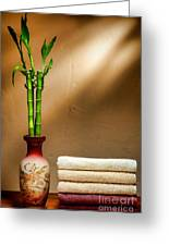 Towels And Bamboo Greeting Card