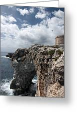 Stunning Tower Over The Cliffs Of Alcafar In Minorca Island - Tower And Sea Greeting Card