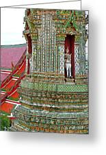 Tower At Temple Of The Dawn-wat Arun In Bangkok-thailand Greeting Card