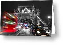 Tower Bridge And Traffic Color Mix Greeting Card