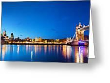 Tower Bridge In London Uk At Night Greeting Card