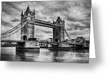 Tower Bridge In London Uk Black And White Greeting Card