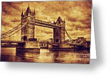 Tower Bridge In London Uk Vintage Style Greeting Card