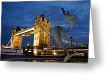 Tower Bridge The Dolphin And The Girl Greeting Card