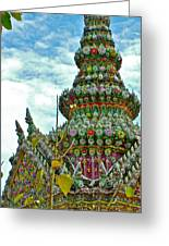 Tower Closeup Of Buddhist Temple At Grand Palace Of Thailand  Greeting Card