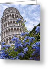 Tower Of Pisa With Blue Flowers Greeting Card