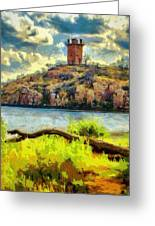 Tower On The Bluff Greeting Card