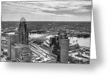 Tower Reflections 2 Bw Greeting Card
