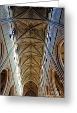 Towering Art - The Painted Ceiling Above The Nave Of Uppsala Cathedral - Sweden Greeting Card