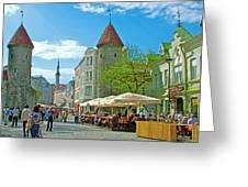 Towers As Gateways To Old Town Tallinn-estonia Greeting Card