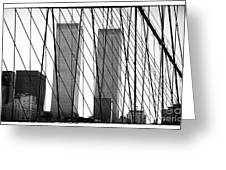 Towers From The Brooklyn Bridge 1990s Greeting Card by John Rizzuto
