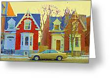 Town Houses In Winter Suburban Side Street South West Montreal City Scene Pointe St Charles Cspandau Greeting Card