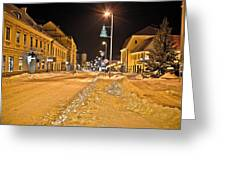 Town In Deep Snow On Christmas  Greeting Card