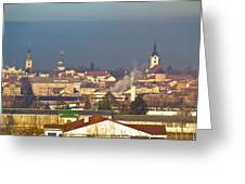 Town Of Bjelovar Winter Skyline Greeting Card