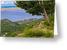 Town Of Karlobag And Island Of Pag Greeting Card