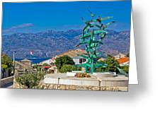 Town Of Razanac With Velebit Background Greeting Card
