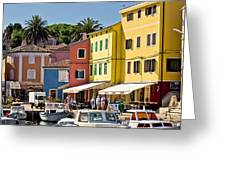 Town Of Veli Losinj Colorful Waterfront Greeting Card