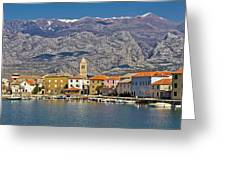 Town Of Vinjerac In Front Of Paklenica National Park Greeting Card