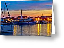 Town Of Vodice Harbor And Monument Greeting Card