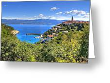 Town Of Vrbnik Green Landscape Greeting Card