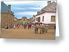 Townsfolk On Street To The Sea In Louisbourg Living History Museum-174 Greeting Card