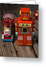 Toy Robot And Train Greeting Card