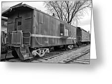 Tpw Rr Caboose Black And White Greeting Card
