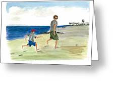 Tracing Your Footsteps In The Sand Greeting Card by Jeremiah Iannacci