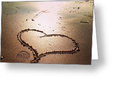 Tracks Of Love In The Sand Greeting Card
