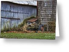 Tractor And Barn On Cloudy Day Greeting Card
