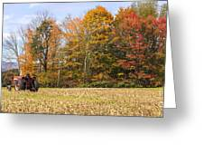 Tractor In Autumn New England Field Greeting Card