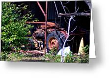 Tractor In Shed Greeting Card
