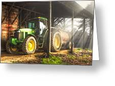 Tractor In The Morning Greeting Card