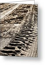 Tractor Tracks In Dry Mud Greeting Card