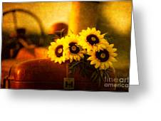 Tractors And Sunflowers Greeting Card