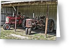 Tractors In The Shed Greeting Card