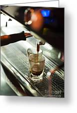 Traditional Espresso Coffee And Machine  Greeting Card