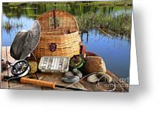 Traditional Fly-fishing Rod With Equipment  Greeting Card by Sandra Cunningham