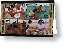 Traditional Pacific Handicrafts Postage Stamp Print Greeting Card