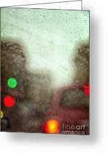 Traffic In The Rain Greeting Card