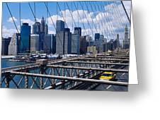 Traffic On A Bridge, Brooklyn Bridge Greeting Card