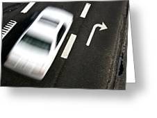 Traffic On A Street Of A Village With A Fast Car Passing Shot F Greeting Card