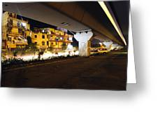 Traffic Running Beneath Flyover Greeting Card