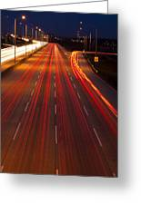 Traffic Trails At Twilight Greeting Card