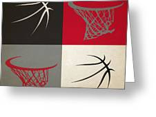 Trail Blazers Ball And Hoop Greeting Card