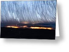 Trails Of Stars Over Big Island Greeting Card