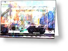 Train Abstract Blend 4 Greeting Card