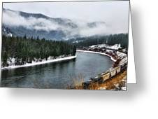 Train Along The River Greeting Card