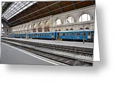 Train At Station Platform Budapest Hungary Greeting Card