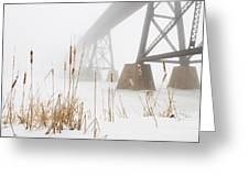 Train Bridge Lost In Fog Greeting Card